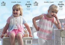 "King Cole DK Knitting Pattern 3159: Cardigan & Sun Top 18""-24"""
