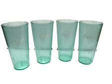 Coca-Cola Clear Coke-Bottle Green Plastic Tumblers 24 oz set of 4 - BRAND NEW