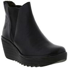 Womens Fly London Yoss Black Leather Chelsea Wedge Ankle BOOTS Size 3-8 UK 6