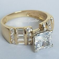 2.00ct 14k yellow gold princess solitaire Man Made Diamond Engagement Ring size7