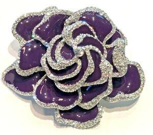 Joan Rivers Dazzling Purple Enamel Rose Pin