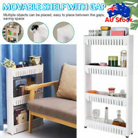 Removable Kitchen Trolley Rack Holder 4 Tier Storage Shelf Organizer Wheels AU