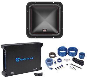 """MTX S6512-44 12"""" 500 Watt RMS Square Car Audio Subwoofer+Mono Amplifier+Amp Kit"""