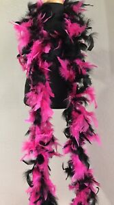Dark Pink/black Chandelle Feather Boa, NEW Set Of 10 Pieces.  7 Feet Long