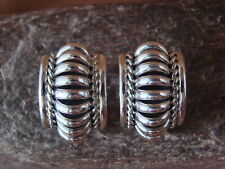 Native American Indian Jewelry Sterling Silver Ribbed Post Earrings - Manuel Joh