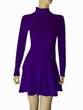 Cotton Spandex Long Sleeve Turtleneck Skater Dress