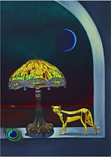 aceo Surreal GERLEVE Cat Moon Tiffany Peacock Mystery Artist trading Card