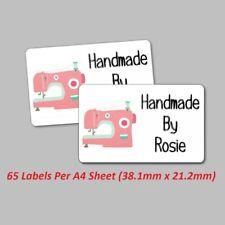 120 Personalised Labels Stickers Handmade Craft Sewing Machine Stitching
