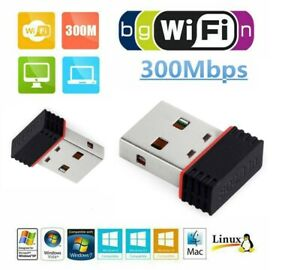 USB wifi adapter 300Mbps mini slim Wireless Dongle *Plug & Play with Windows 10*