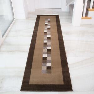 Chocolate Brown Long Hall Runner Rugs Modern Plain Geometric Carpet Mats 8 Sizes