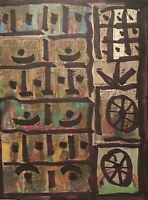 PETERS 1927-2019 NEW YORK CITY ABSTRACT MODERNIST OUTSIDER NEWSPRINT DRAWING