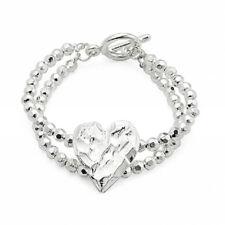 Silver T-bar Textured Heart Bracelet