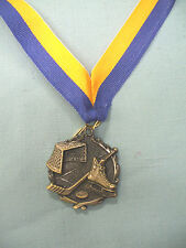 gold Hockey medal with blue and gold neck ribbon