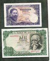 BILLETE lote 2 billetes , 1000 pesetas 1971  Y  50 1954  LOS DOS EBC