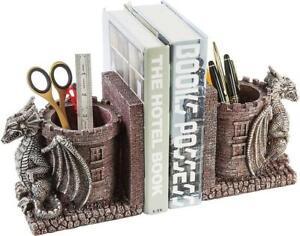 Dragon Guard Castle Decorative Resin Bookends, Stone Colored Pencil Holders,2pcs