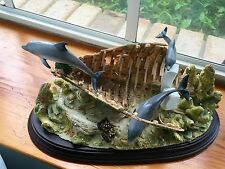 "Lenox ""Dolphin Hideaway"" Sunken Ship Dolphin Home Statue"