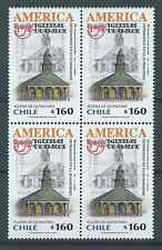 CHILE 2001 UPAEP Chiloe Quinchao church MNH block of 4