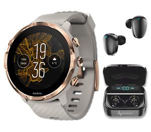 SUUNTO 7 Sandstone Rosegold GPS Smartwatch with Wearable4U EarBuds Power Bundle