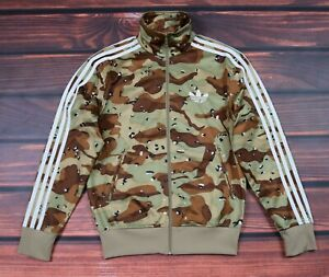 men adidas camo track jacket zip stripes firebird    size  XS