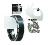 6-8 mm Tungsten Carbide Men/Women Wedding Band Black Ring Sizes 5-14,5 Comfort