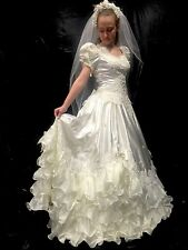 NWT Vintage Mary's Extravagant Beaded Sequined Super-Ruffle Wedding Dress 10 #12