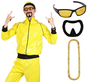 ADULTS 90'S RAPPER COSTUME YELLOW TRACKSUIT MENS GANGSTER 1990'S FANCY DRESS