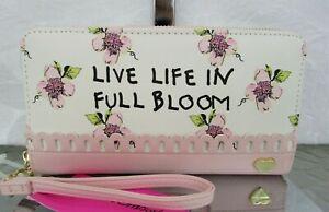 Betsey Johnson Floral Wallet Zip Around Wristlet Pink Blush Full Bloom NWT
