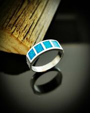 Blue Opal Ring 925 Sterling Silver ring Size 5 Ring Square Ring