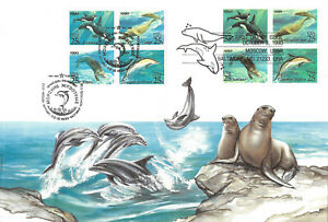 """USA / RUSSIA - 1990 """"Joint Issue Sea Creatures - Whale Dolphin Marine"""" Large FDC"""