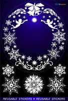CHRISTMAS WREATH SNOWFLAKES  ANGELS STICKERS REUSABLE HOME WINDOW  DECORATIONS +