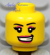 NEW Lego Female MINIFIG HEAD Girl w/Red Pink Lips Smile - Police/Kingdoms/Castle