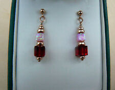Art Deco style 14ct Rose Gold Filled cube earrings with Pink Opal & Red Crystals