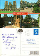 1990's MULTI VIEWS OF WELLS SOMERSET COLOUR POSTCARD