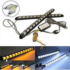 2x Flowing 12 LED Car Arrow Indicator Light Amber+White Driving Fog Lamp Bar 12V