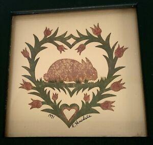 1991 RHONDA HINSDALE Scherenschnitte/Scissor-Cut Watercolor-BUNNY RABBIT-Heart