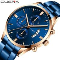 Herren Mode Luxus Uhren Edelstahl Sport Quarz Analog Date Armbanduhr