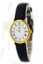 Piaget 24mm 18k Yellow Gold Roman Numeral White Dial Oval Mechanical Watch 9822