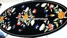 4'x2' Black Marble Modern Dining Table Top Marquetry Floral Inlay Décor H4571