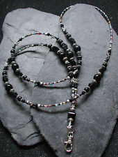Midnight Dragonfly Black Glass Bead ID Lanyard Badge Holder