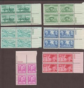 US,981-986,1949 YEAR COMPLETE,1940'S,PLATE BLOCKS MINT NH,OG