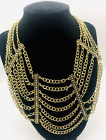 Fabulous Multi Strand Bib Necklace Chains Gold Tone Etruscan Vintage Jewelry