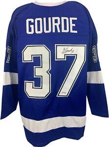 Yanni Gourde autographed signed jersey NHL Tampa Bay Lightning PSA COA