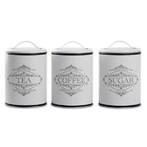 White Vintage Metal Tea Coffee Sugar Kitchen Storage Canisters Jars Caddies Home
