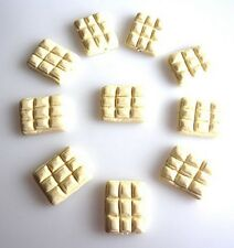 10 FIMO POLYMER CLAY WHITE MILK CHOCOLATE SLAB BEADS - FAST FREE P&P