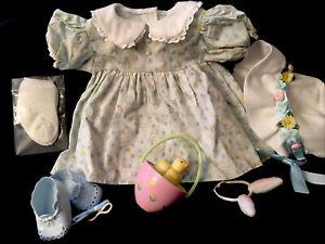 AMERICAN GIRL PLEASANT COMPANY BITTY BABY EASTER SET BUNNY BLUE DRESS BONNET