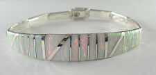 ".950 silver white opal bracelet with long curved centerpiece 7"""" long"