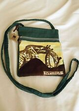 No Hands Green Cloth 2 Zipper Sling Bag:  Mother & Baby Giraffe Design ~ Namibia