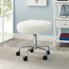 Faux Fur Rolling Swivel Stool With Wheels Salon Office Desk Chair Round in White