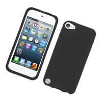 Apple iPod Touch 6 5 7th Gen Hybrid Rubber Silicone Rugged Soft Case Cover BLACK