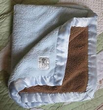 Little Giraffe Blue & Brown Plush Boy Baby Blanket w White Satin Edge EUC